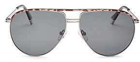 Polaroid Men's Brow Bar Aviator Sunglasses, 61mm