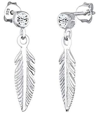 Elli Women Genuine Jewellery Earrings Dangle & Drop Ear Feather 925 Sterling Silver Swarovski Crystals White