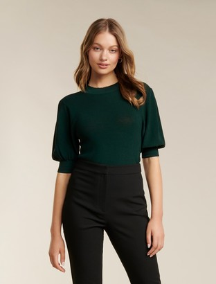 Forever New Tyra Puff-Sleeve Knit Tee - Forest Green - 10