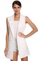 Meaneor Women's Oversized Open Longline Sleeveless Duster Blazer Jacket Coat (XL, )