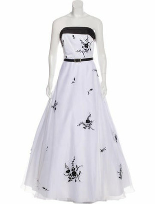 Jovani Embellished Strapless Gown White