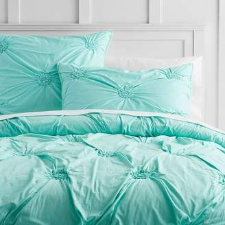 Pottery Barn Teen Ruched Rosette Quilt, Full/Queen, Light Turquoise