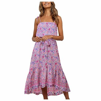 Moent Women Clothes Moent Women Casual Floral Print V-Neck Sleeveless Camisole Boho Maxi Dress