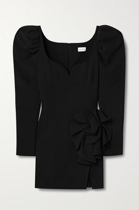 Magda Butrym Appliqued Stretch-wool Crepe Mini Dress - Black