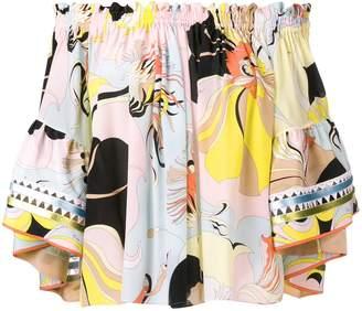 Emilio Pucci Off-Shoulder Mirabilis Print Silk Top