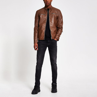 River Island Brown faux leather racer jacket