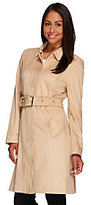 As Is H by Halston Faux Suede Zip Front Trench Coat with Belt