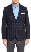 Kroon Men's White Classic Fit Check Silk Sport Coat