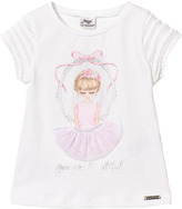 Mayoral Pink Girl in Mirror with Applique Skirt Tee