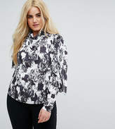 Asos Top With Clean Cold Shoulder In Mono Print