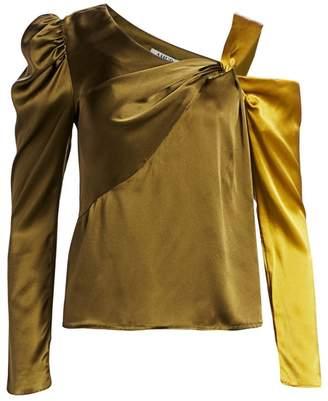 AMUR Mabel Twisted Cold-Shoulder Silk Top