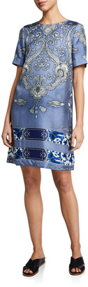 Etro Tassel Floral Short-Sleeve Shift Dress
