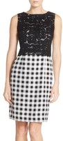 Ellen Tracy Lace & Gingham Sheath Dress (Regular & Petite)