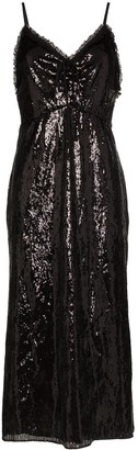 Miu Miu Sequinned Slip Midi Dress