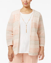 Alfred Dunner Plus Size Just Peachy Collection Striped Layered-Look Necklace Sweater