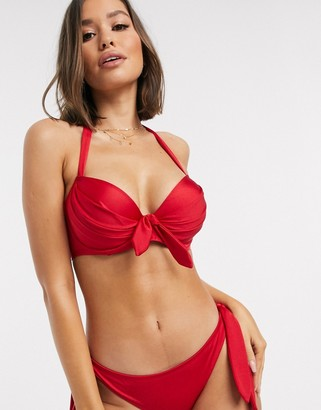 Pour Moi? Pour Moi Fuller Bust Azure underwired bikini top in red