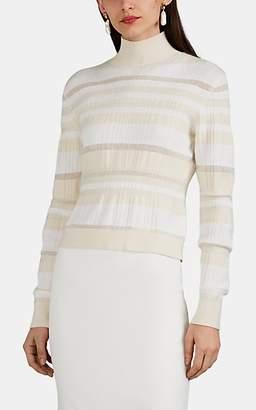 Proenza Schouler Women's Textured-Striped Rib-Knit Mock Turtleneck Sweater - Offwhite