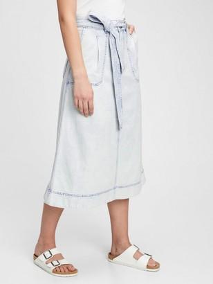 Gap A-line Tie-Belt Midi Skirt
