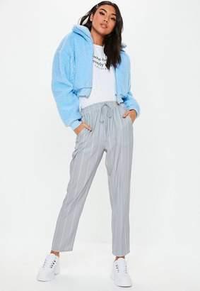 Missguided Grey Pinstripe Tie Waist Pants