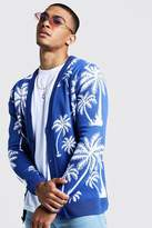 BoohoomanBoohooMAN Mens Blue Slouchy All Over Palm Knitted Cardigan, Blue