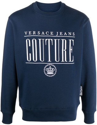 Versace Jeans Couture Embroidered Logo Rib-Trimmed Sweatshirt