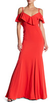 Jay Godfrey Ruffled Cold-Shoulder Gown