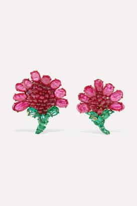 Bina Goenka 18-karat Gold, Ruby And Emerald Earrings - one size