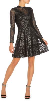 GUESS Mesh Burnout Fit--Flare Dress