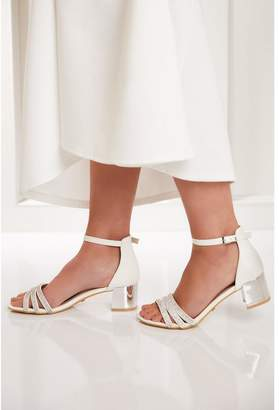 Quiz Bridal White Diamante Strap Block Heeled Sandals