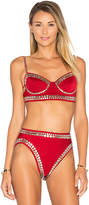 Norma Kamali Stud Underwire Bikini Top in Red