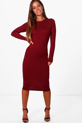 boohoo Petite Basic Long Sleeve Midi Dress