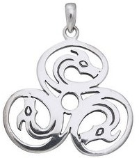Carolina Glamour Collection Sterling Silver Celtic Trinity Knot Triple Dragons Pendant