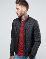 Armani Jeans Bomber Jacket With Quilted Pattern In Black