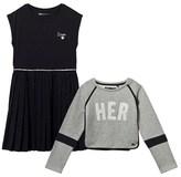 Ikks Navy Glitter Spot Skirt Dress with Sweatshirt