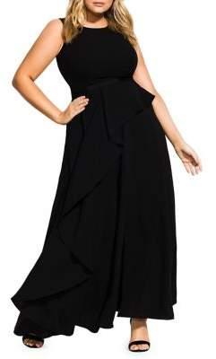 City Chic Plus Antilla Ruffle Drape Maxi Dress