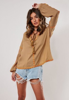 Missguided Embroidered Tie Front Blouse