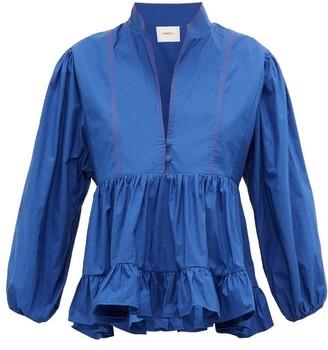 La DoubleJ Quintana Ruched Cotton-poplin Blouse - Blue