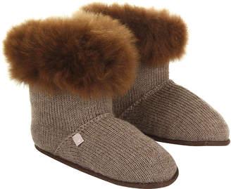Holmes Samantha Alpaca Fur Edged Slippers - Nutmeg - S/M
