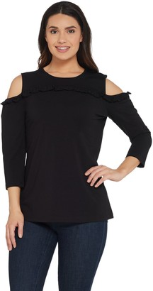 Denim & Co. Studio by 3/4 Sleeve Cold Shoulder Top w/ Ruffle