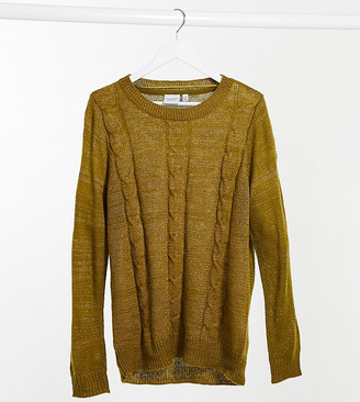 Junarose cable knit jumper in green