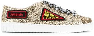 Miu Miu patch embroidered glittered sneakers