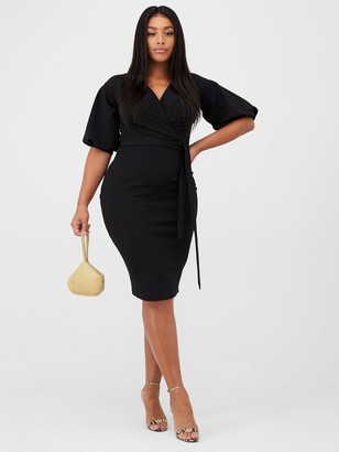 boohoo Plus Wrap Midi Dress - Black