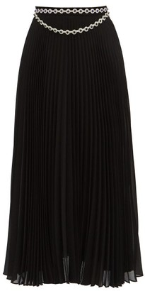 Christopher Kane Jewelled Pleated Crepe Skirt - Black