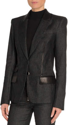 Tom Ford Leather-Trim Denim Blazer