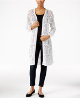 JM Collection Open-Front Crochet Cardigan, Only at Macy's