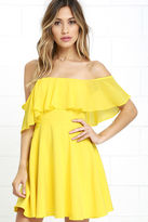 LuLu*s Flutter On By Yellow Off-the-Shoulder Skater Dress