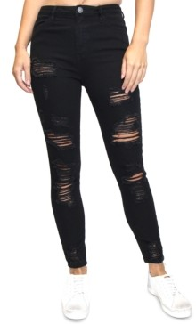 Almost Famous Juniors' Destructed High-Rise Skinny Jeans