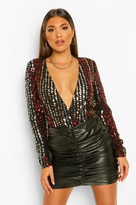 boohoo Sequin Stripe Long Sleeve Wrap Bodysuit