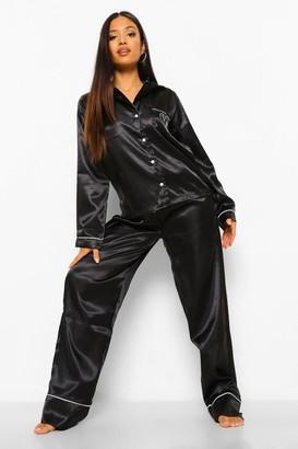 boohoo Petite Love Pocket Print Pj Trouser Set