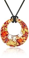 Akuamarina Lily - Gold Murano Glass Pendant w/Rubber Lace